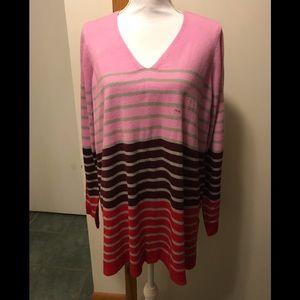 Lane Bryant v neck stripe sweater multicolor